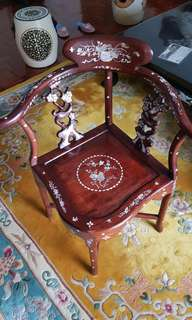 Vintage Rosewood Chair with Mother of Pearl