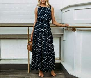 Retro Dot Long Dress