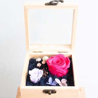 Preserved Rose in Wooden Box