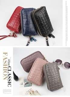 🚚 新款真皮雙拉鏈 韓版時尚手機包 石頭紋雙拉鏈 女手拿包 女零錢包 雙層包