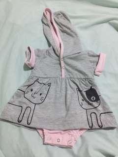 Hush hush onesie dress with hoodie 0-3months