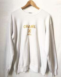 Vintage/Bootleg Embroidered Chanel Sweatshirt in White