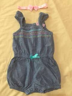 Young Hearts romper denim sleeveless 3-6months with free headband