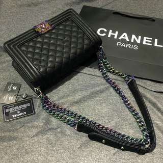 Chanel Boy with Rainbow Hardware