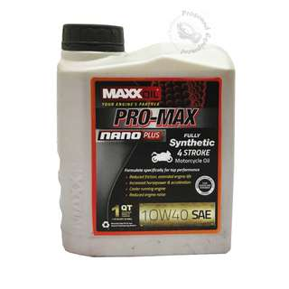 MAXXOIL PRO-MAX NANO PLUS FULLY SYNTHETIC 10W40 4 STROKE MOTORCYCLE OIL (1 LITRE)