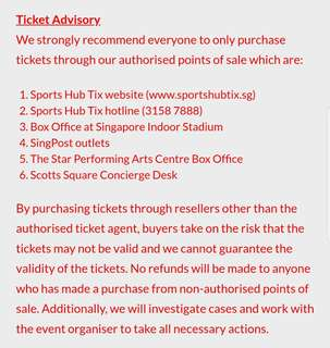 JJ Lin Concert - Boycott resellers