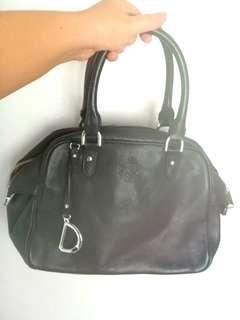 Ralph Lauren black leather Sloan Street Dome satchel handbag
