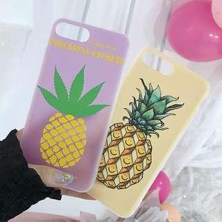 (W)手機殼IPhone6/7/8/plus/X : 夏日菠蘿全包邊透明軟殼