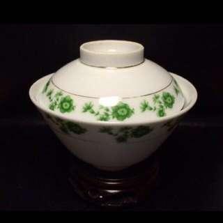 聽雨樓:#WGYH-0003-A:【文革】燈籠款 綠色印花蓋碗一套