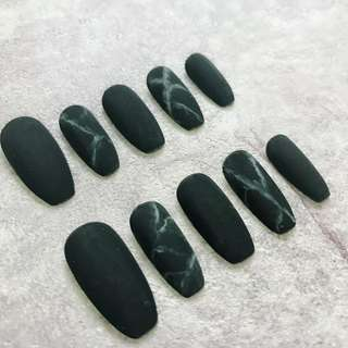 Ballerina Matte Balck Marble Stone Art False Nails