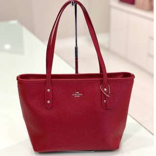 Authentic Coach City Zip Tote Mini Leather In Red