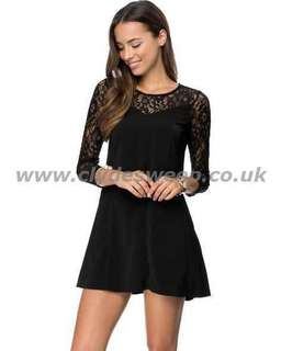 Zalora Lace Detail Swing Dress