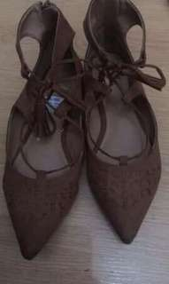 Brand New Imported D'orsay Lace Up Flats