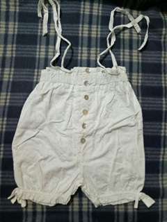 Girl White Polka-dot Short Pant /Jumpsuit With Button Size 2-3Y