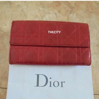 "AUTHENTIC DIOR ""LADY-DIOR CANNAGE"" QUILTED LAMBSKIN LEATHER LONG WALLET"