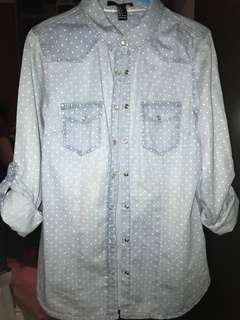 Forever 21 Polka Dot Chambray Shirt