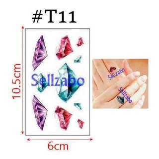 #T11 Fake Temporary Body Tattoo Stickers Washable Wash Off Print Sellzabo Colourful Patterns Designs Tatoo Tatto Tattoo Accessories Diamonds Crystals Gem Jewels