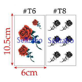 #T6 #T8 Fake Temporary Body Tattoo Stickers Washable Wash Off Print Sellzabo Black Red Colour Patterns Designs Tatoo Tatto Tattoo Accessories Rose Roses Flowers
