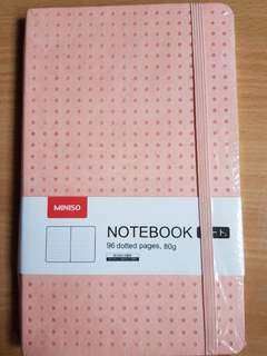 BN Miniso dotted grid pink notebook