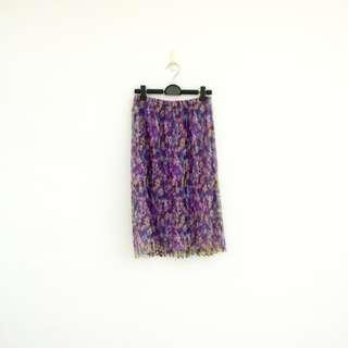 二手 紫色 印花 閃亮 薄紗 彈性 鬆緊 長裙 明太子 619