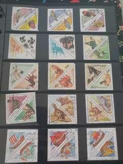 三角形系列郵票(不同國家的已蓋銷郵票)