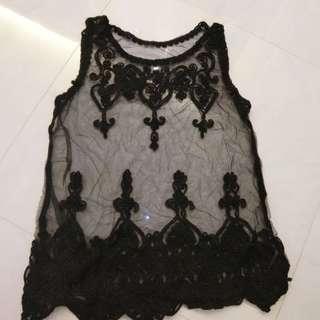 黑色lace背心