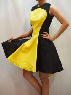 Yellow Black flare dress