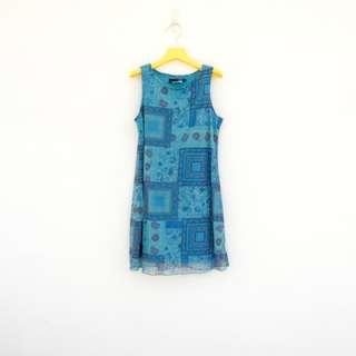 二手 緊騷短短短 藍色 印花 彈性 洋裝 明太子 619