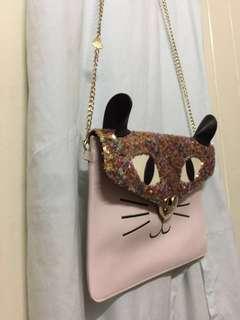 Betsey Johnson Sequin Cat Clutch