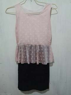 Dress peplum pink hitam