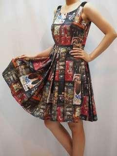 Gravity printed jacquard pleats dress