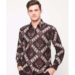 Gurdo Kemeja Batik Parang Pria Lengan Panjang Brown - Djani