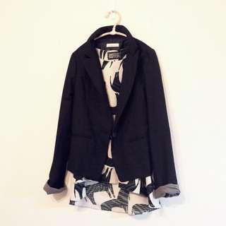 🚚 轉naked正韓黑色袖口格紋反折兩穿合身西裝外套特價現貨kashin