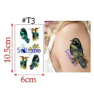 #T3 Fake Temporary Body Tattoo Stickers Washable Wash Off Print Sellzabo Colourful Patterns Designs Tatoo Tatto Tattoo Accessories Birds Parrots