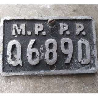 Vintage Old Bicycle Mppp Plate