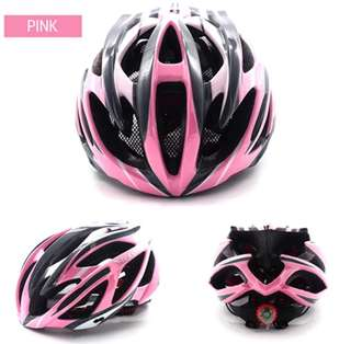 🚚 🆕! Pink Lightweight MTB Cycling Protective Helmet + Integrated Safety Warning Led   #OK