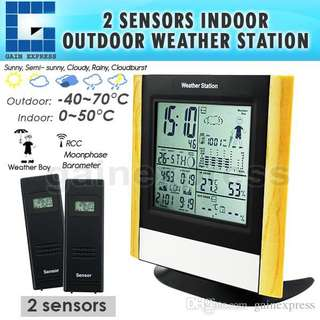 Weather Station With 2 Wireless Sensors WWVB DCF  Radio Controlled Clock Thermometer Alarm Indoor Outdoor Humidity Weather Forecast Barometer Sunset Sunrise Moon Phase