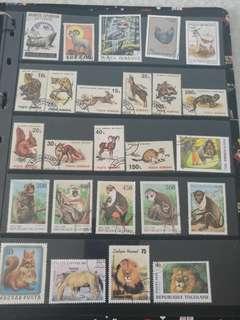 動物系列郵票(不同國家已蓋銷郵票)