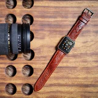 🚚 Genuine Brown Ostrich Leather Handmade Strap For Apple Watch Series 3,2,1, Gear S3, Pebble Time