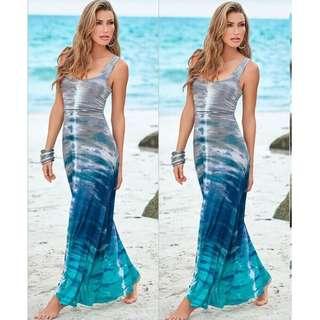🚚 Cross-country women's 2018 summer new European and American models Slim gradient printing beach skirt
