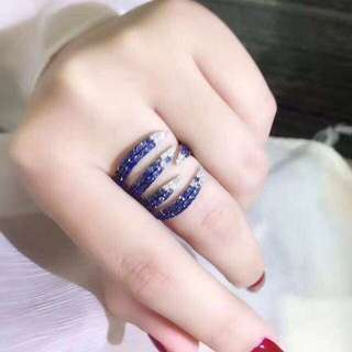 香港預展 18k藍寶鑽石戒指