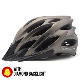 🚚 🆕! Titanium Colour Lightweight MTB Cycling Protective Helmet + Integrated Diamond Warning Led   #OK