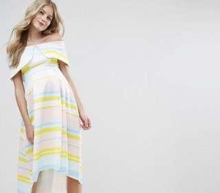 ASOS Maternity Bright Stripe Fold Dress