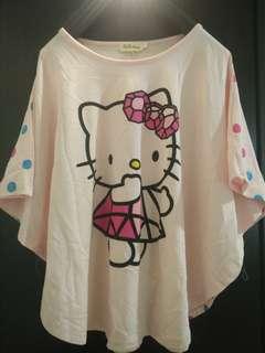 卡哇伊 Hello kitty 凱蒂貓 彩色點點 寬鬆 蝙蝠袖 上衣