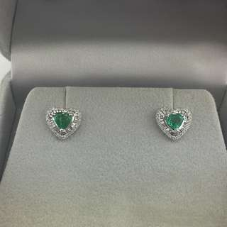 93份綠寶 32份鑽石 18K白金耳環 18K Withe gold 0.93ct Emerald 0.32ct Diamond Earrings 可議價