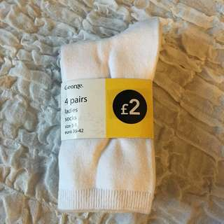 BRAND NEW George Ladies Socks (white)