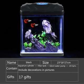 NEW!Fish Tank Aquarium Turtle Tank Goldfish Tank Creative Small Fish Tank HR Ecological Fish Tank - International