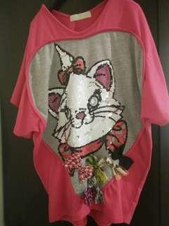 歐美款 重工 亮片 貼鑽裝飾 蝴蝶結裝飾 凱莉貓 oversize 寬鬆上衣