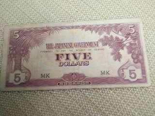 WW2 Japanese $5.00