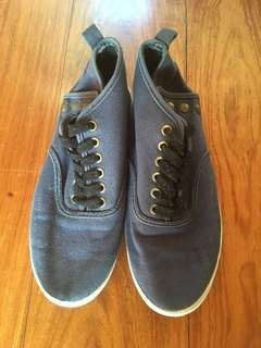 H&M Dark Blue High Top Canvas Sneakers with Button Up Detail